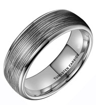 8mm - Unisex or Men's Tungsten Wedding Band. Silver Wire Band (Silver Tungsten Carbide) Ring with Silver Wire Inlay