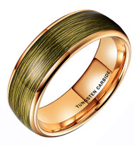 8mm - Unisex or Men's Tungsten Wedding Band. Gold Band with Olive Wire. (Gold Tungsten Carbide) Ring with Olive Green Wire Inlay