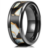 8mm - Unisex, Women's or Men's Black Metal Zirconium Wedding Bands. Black band with Mother of Pearl Inlay design. Light Weight and Comfort Fit. (Similar to Titanium)