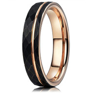 4mm - Women's Tungsten Wedding Band. Hammered Brushed Black Tungsten Ring with Rose Gold Interior and Stripe Design