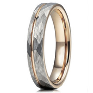 4mm - Unisex or Women's Tungsten Wedding Band. Hammered Brushed Silver Tungsten Ring with Rose Gold Interior and Stripe Design