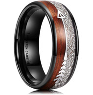8mm - Unisex or Men's Tungsten Wedding Bands. Black Tone Band with Cupid's Arrow with Wood and Inspired Meteorite Inlay. Tungsten Carbide Domed Top Ring.