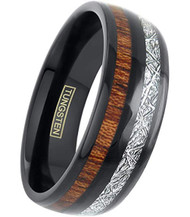 8mm - Unisex or Men's Tungsten Wedding Bands. Black Tone Band with Wood and Inspired Meteorite Inlay. Tungsten Carbide Domed Top Ring.