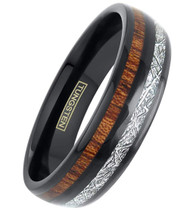 6mm - Unisex or Women's Tungsten Wedding Bands. Black Tone Band with Wood and Inspired Meteorite Inlay. Tungsten Carbide Domed Top Ring.