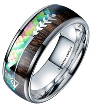 8mm - Unisex, Men's or Women's Wedding Tungsten Wedding Band. Silver Band - Rainbow Abalone Shell & Wood Inlay with Cupid's Arrow. Domed Tungsten Carbide Ring. Comfort Fit Brushed Tungsten Carbide Wedding Ring