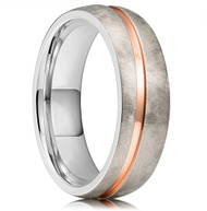 8mm - Unisex, Women's or Men's Titanium Wedding Bands. Gold Diagonal Groove over Silver Matte Brushed Finish. Duo Tone Silver and Rose Gold Wedding Band