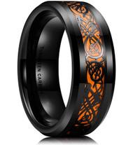mens tungsten wedding bands orange, mens tungsten ring black and orange celtic