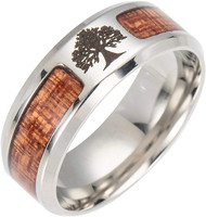 8mm - Unisex or Men's Stainless Steel Wedding Bands. Etched Tree Icon and Wood Inlay Ring for Outdoorsmen or LumberJack, etc. Comfort Fit