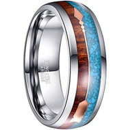 8mm - Unisex or Men's Tungsten Wedding Bands. Silver Tone Band with Cupid's Arrow with Wood and Blue Turquoise Inlay. Tungsten Carbide Domed Top Ring.