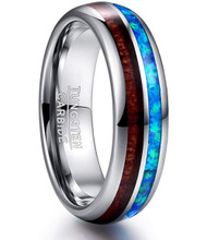 6mm - Unisex or Women's Tungsten Wedding Bands. Silver Tone Multi Color Wood and Sea Blue Opal Inlay Ring. (Organic colors)