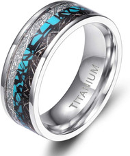 8mm - Unisex or Men's Titanium Wedding Bands. Silver and Tri Color - Titanium Ring with Turquoise and Double Inspire Meteorite Inlay. Comfort Fit Light Weight