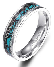 6mm - Unisex or Women's Titanium Wedding Bands. Silver and Tri Color - Titanium Ring with Turquoise and Double Inspire Meteorite Inlay. Comfort Fit Light Weight