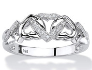 Women's Diamond Heart Wedding Ring - Platinum over 925 Sterling Silver Ring - Diamond Accent Interlocking Heart Promise Ring