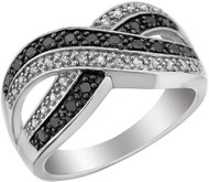 Women's Black and White Diamond Infinity Wedding Ring - 925 Sterling Silver 1/4 Carat (ctw). Wide Infinity Two Tone Wedding Band