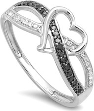 Women's Black and White Diamond Heart Criss Cross Wedding Ring - 0.20 Carat (ctw) Black & White Diamond Promise Heart Lovers Ring 1/5 CT, 925 Sterling Silver Band