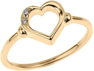 Women's Diamond Open Heart Wedding Band / Promise Ring - Solid 10K Yellow Gold Diamond Heart Engagement Rings for Women