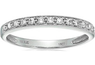 Women's 10K White Gold Diamond Wedding Band. Simple Elegant Band - 1/6 CT Milgrain Diamond Wedding Band in 10K White Gold