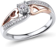 Women's Hearts Engagement Ring - Rhodium Plated Sterling Silver 10k Rose Gold - Women's Diamond Wedding Band (1/10 Carat)