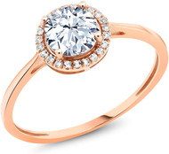 Women's Sapphire and Diamond Engagement Ring - 10K Rose Gold Round Genuine Created Sapphire and Diamond Promise Ring (1.42 cttw)