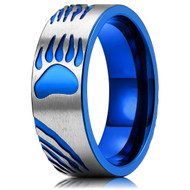8mm - Men's Titanium Wedding Band. Animal Paws - Duo Tone Silver and Blue Light Weight and Comfort Fit