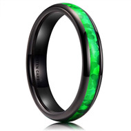 4mm - Women's Tungsten Wedding Bands. Black Band with Bright Green Inlay Design