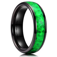6mm - Unisex, Men's or Women's Tungsten Wedding Bands. Black Band with Bright Green Inlay Design