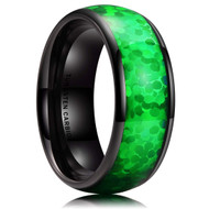 8mm - Men's Tungsten Wedding Bands. Black Band with Bright Green Inlay Design