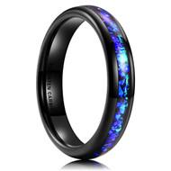 4mm - Women's Tungsten Wedding Bands. Black Band with Bright Blue Inlay Design