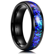 6mm - Unisex, Men's or Women's Tungsten Wedding Bands. Black Band with Bright Blue Inlay Design