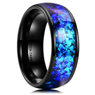 8mm - Men's Tungsten Wedding Bands. Black Band with Bright Blue Inlay Design