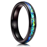 4mm - Women's Tungsten Wedding Bands. Black Band with Bright Green and Blue Inlay Design