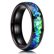6mm - Unisex, Men's or Women's Tungsten Wedding Bands. Black Band with Bright Green and Blue Inlay Design