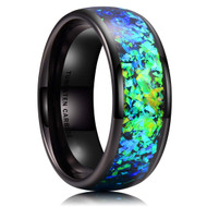 8mm - Men's Tungsten Wedding Bands. Black Band with Bright Green and Blue Inlay Design