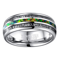 8mm - Unisex or Men's Tungsten Wedding Bands. Silver Band with Mostly Green Opal and Inspired Meteorite Inlay Ring (Organic colors)