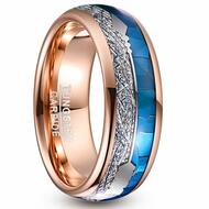 8mm - Unisex or Men's Tungsten Wedding Bands. Rose Gold Band with Cupid's Arrow with Inspired Meteorite and Blue Shell Inlay. Tungsten Carbide Domed Top Ring.