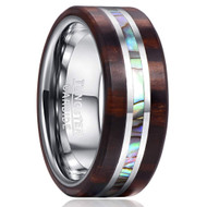 8mm - Unisex or Men's Tungsten Wedding Bands. Wood Band with Silver Accents and Rainbow Abalone Shell Inlay Ring (Organic colors)
