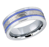 8mm - Unisex or Men's Tungsten Wedding Bands. Duo Tone Silver Hammered and Blue Stripes - Men's Tungsten Carbide Ring Wedding Band