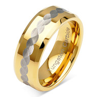 8mm - Unisex or Men's Tungsten Wedding Bands. Yellow Gold Band with Silver Tone Hammered Top. Comfort Fit Wedding Ring.