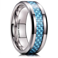 8mm - Unisex or Men's Tungsten Wedding Bands. Silver Ring with Light Blue Carbon Fiber Inlay