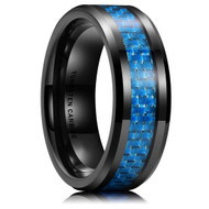 8mm - Unisex or Men's Tungsten Wedding Bands. Black Ring with Light Blue Carbon Fiber Inlay