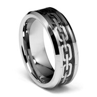 8mm - Unisex or Men's Tungsten Wedding Band. Silver Chain Link Wedding Bands. Silver Ring with Silver and Black Resin Inlay. Tungsten Carbide Ring