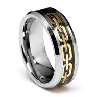8mm - Unisex or Men's Tungsten Wedding Band. Yellow Gold Chain Link Wedding Bands. Silver Ring with Gold and Black Resin Inlay. Tungsten Carbide Ring