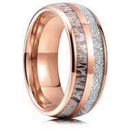 8mm - Unisex or Men's Wedding Tungsten Wedding Band. Rose Gold Tungsten Band with Antler Inlay and Inspired Meteorite. Domed Tungsten Carbide Ring. Comfort Fit
