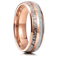 6mm - Unisex or Women's Wedding Tungsten Wedding Band. Rose Gold Tungsten Band with Antler Inlay and Inspired Meteorite. Domed Tungsten Carbide Ring. Comfort Fit