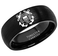 8mm - Unisex or Men's U.S. Coast Guard Ring. Tungsten Wedding Band. Military Wedding Bands. Black Laser Etched United States Coast Guard Logo