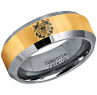 8mm - Unisex or Men's U.S. Coast Guard Ring. Tungsten Wedding Band. Military Wedding Bands. Gold and Silver Band with Laser Etched United States Coast Guard Logo