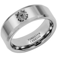 8mm - Unisex or Men's U.S. Coast Guard Ring. Tungsten Wedding Band. Military Wedding Bands. Silver Band with Laser Etched United States Coast Guard Logo