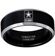 8mm  - Unisex or Men's U.S. Army Tungsten Wedding Band. Military Wedding Bands. Black with Silver Edges and Laser Etched United States Army Logo (Star in Square)