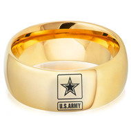 8mm  - Unisex or Men's U.S. Army Tungsten Wedding Band. Military Wedding Bands. Domed Gold with Laser Etched United States Army Logo (Star in Square)