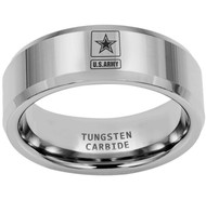 8mm  - Unisex or Men's U.S. Army Tungsten Wedding Band. Military Wedding Bands. Silver Band with Laser Etched United States Army Logo (Star in Square)